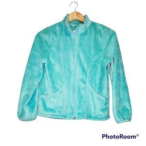 Children's Place Girls Fleece Green Aqua Jacket Large 10 12